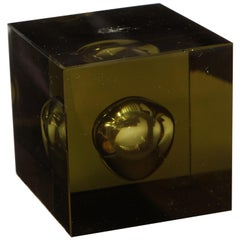 Japanese Hand Blown Green Art Glass Cube, circa 1950