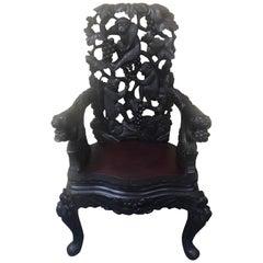 Japanese Hand Carved Dark Wood Export Monkey Armchair