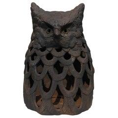 "Japanese Hand Cast ""Owl"" Wall Lantern, Rare Bird"