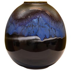 Japanese Blue and Black Porcelain Vase by Contemporary Master Artist
