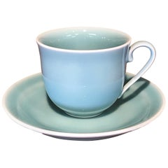 Japanese Hand-Glazed Blue Green Porcelain Cup and Saucer by Master Artist