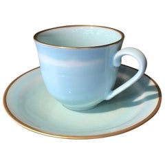 Japanese Hand-Glazed Blue Porcelain Cup and Saucer by Contemporary Master Artist