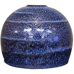 Japanese Hand-Glazed Blue Porcelain Vase by Contemporary Master Artist