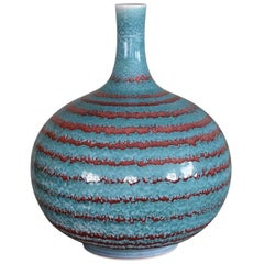 Japanese Hand-Glazed Blue and Red Porcelain Vase by Contemporary Master Artist