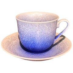 Japanese Hand-Glazed Blue White Porcelain Cup and Saucer by Master Artist