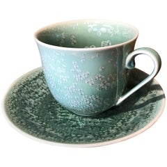 Japanese Hand-Glazed Green Porcelain Cup and Saucer by Master Artist, 2018