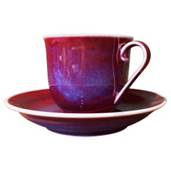Japanese Hand-Glazed Red Blue Porcelain Cup and Saucer by Master Artist, 2018