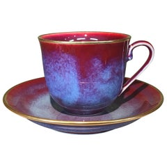 Japanese Hand-Glazed Red Porcelain Cup and Saucer by Contemporary Master Artist