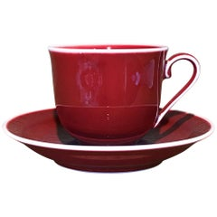 Japanese Contemporary Hand-Glazed Red Porcelain Cup and Saucer by Master Artist