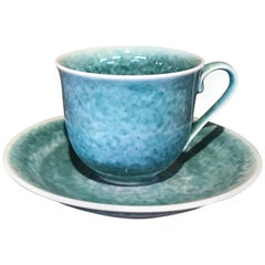 Japanese Hand-Glazed Turquoise Blue Porcelain Cup and Saucer, Master Artist