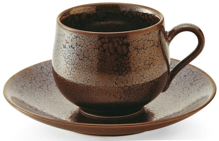 Contemporary Japanese Hand-Glazed Turquoise Porcelain Cup and Saucer by Master Artist For Sale