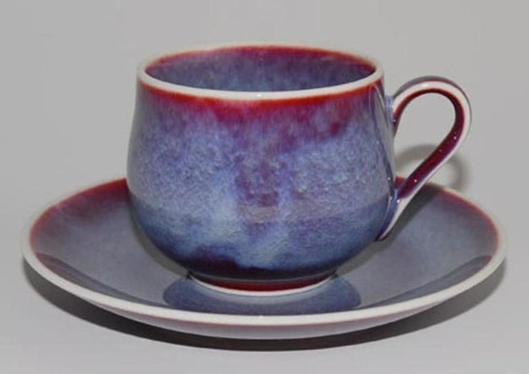 Japanese Hand-Glazed Turquoise Porcelain Cup and Saucer by Master Artist For Sale 1