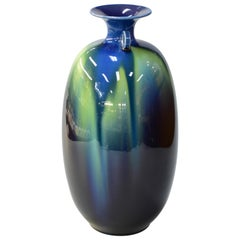 Japanese Hand Glazed Vase by Tokuda Yasokichi III, Living National Treasure