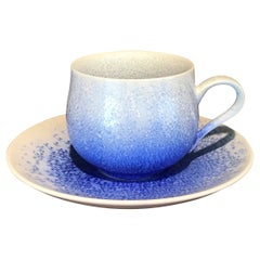 Japanese Hand-Glazed white Blue Porcelain Cup and Saucer by Master Artist