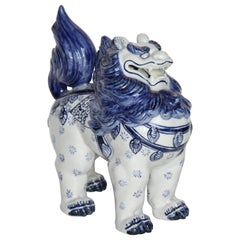 Japanese Hand Painted Blue and White Foo-Lion Sculpture