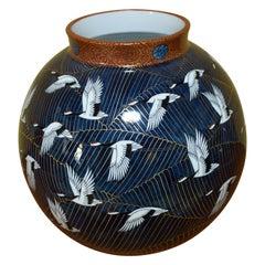 Japanese Hand Painted Blue Gilded Porcelain Vase Master Artist