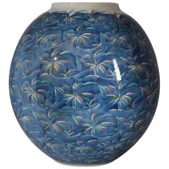 Japanese Hand Painted Blue Imari Porcelain Vase by Contemporary Master Artist