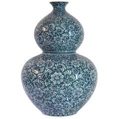 Blue Porcelain Vase by Japanese Master Artist