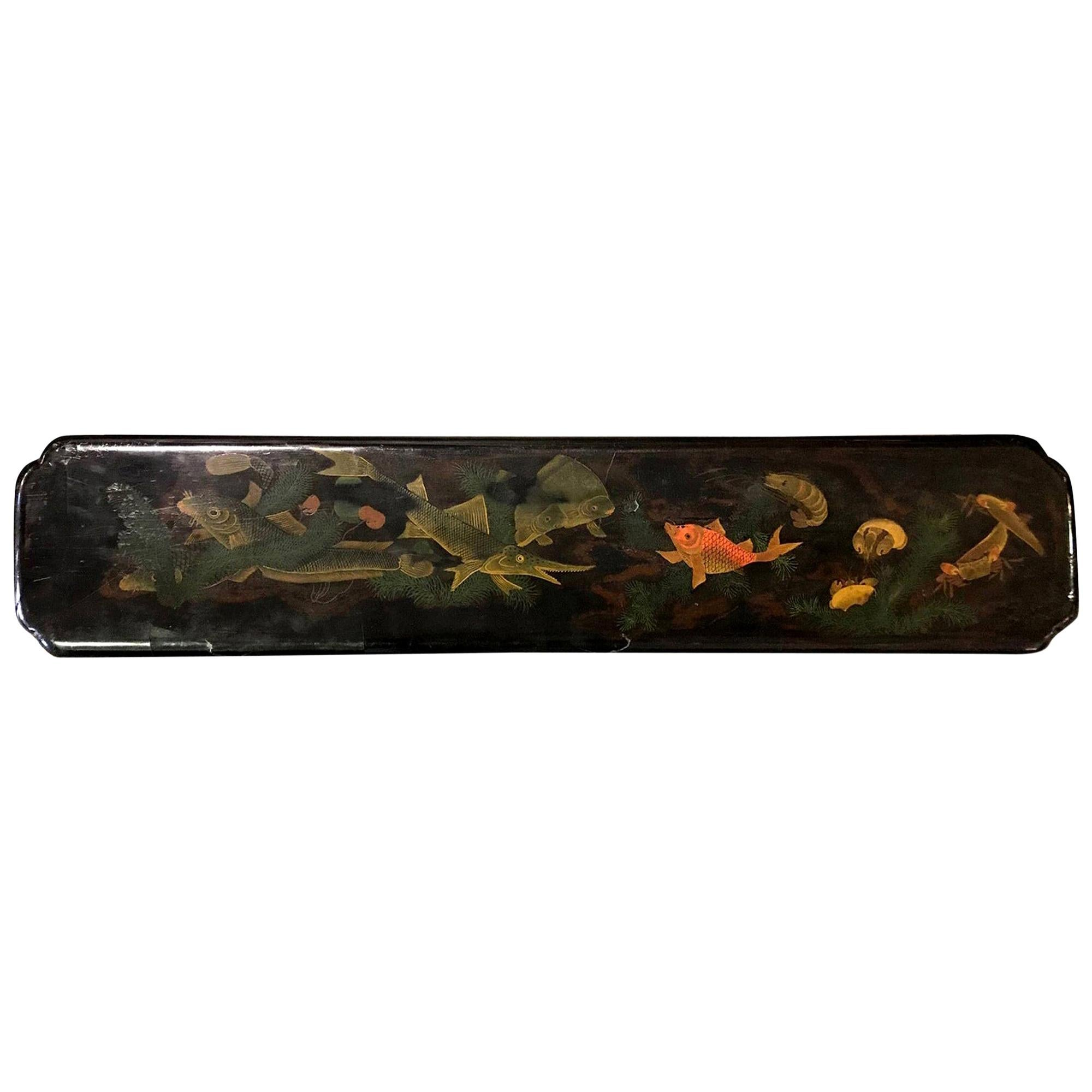 Japanese Hand Painted Lacquered Temple Shrine Plaque of Fish Ocean, 19th Century