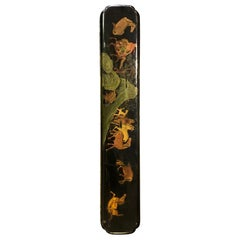 Japanese Hand Painted Lacquered Temple Shrine Plaque of Horses, 19th Century