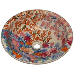 Japanese Hand-Painted Porcelain Washbasin by Contemporary Master Artist