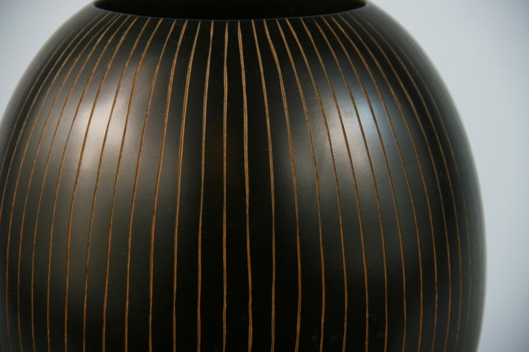 Hardwood Japanese Hand Turned Wood Vase with Concentric Groves For Sale