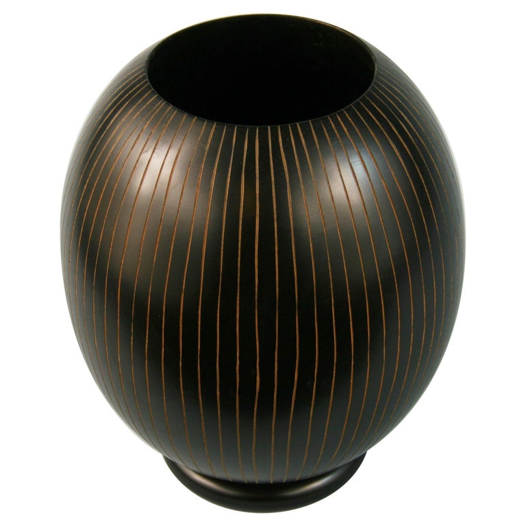 Japanese Hand Turned Wood Vase with Concentric Groves For Sale