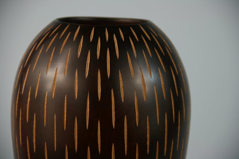 Japanese Hand Turned Wood Vase with Incised Vertical Slits In Good Condition For Sale In Douglas Manor, NY