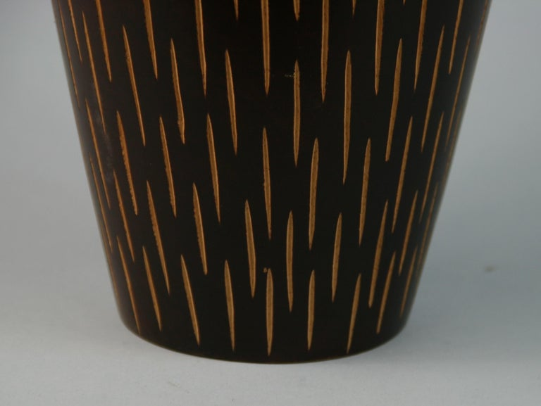 Mid-20th Century Japanese Hand Turned Wood Vase with Incised Vertical Slits For Sale