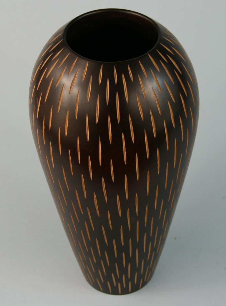 Hardwood Japanese Hand Turned Wood Vase with Incised Vertical Slits For Sale