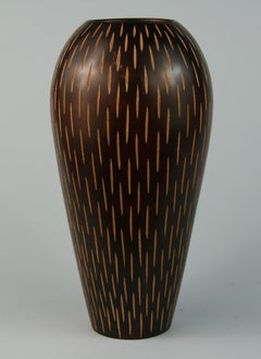 Japanese Hand Turned Wood Vase with Incised Vertical  Slits
