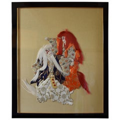 Japanese Contemporary Red White Gold Brocade Silk  Decorative Art