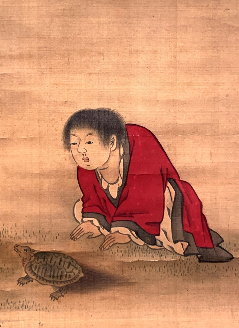 Hand-Painted Japanese Hanging Scroll, Taoist Scholar and Student, by Gogaku, 18th Century For Sale