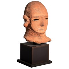 Japanese Haniwa Terracotta Head of a Warrior