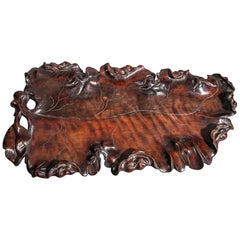 Japanese Hardwood Tray in the form of a Leaf