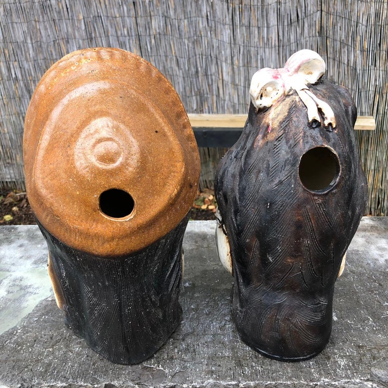 Showa Japanese Garden Pair Him & Her Folk Hero Tanukis Handmade Big Belly Sculptures For Sale