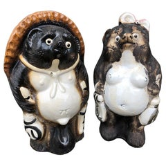 Japanese Him & Her Folk Hero Tanukis Handmade Glazed Big Belly Sculptures, Pair