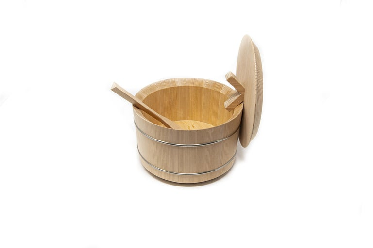 Modern Japanese Hinoki Cypress Wood Rice Container 'Shōri' For Sale