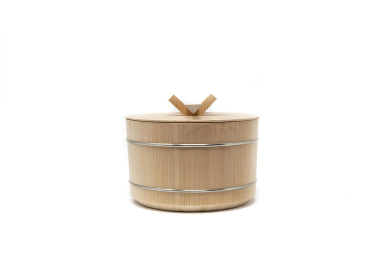 Contemporary Japanese Hinoki Cypress Wood Rice Container 'Shōri' For Sale