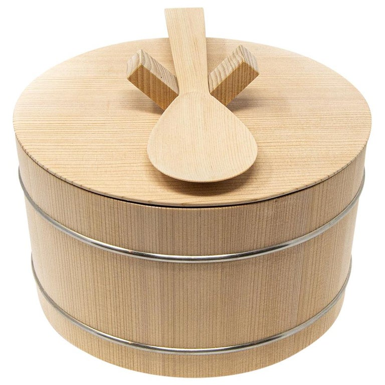 Japanese Hinoki Cypress Wood Rice Container 'Shōri' For Sale
