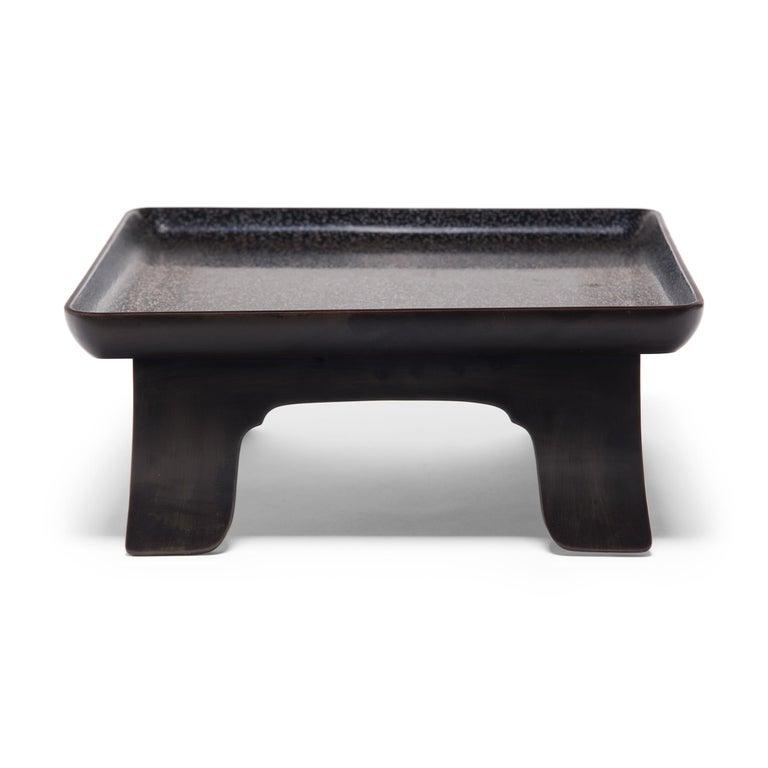 Lacquered Japanese Hiramaki-e Footed Tray, circa 1900 For Sale