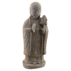 Japanese Huge 1793 Spiritual Guardian Holds Lotus Sceptre Enlightenment
