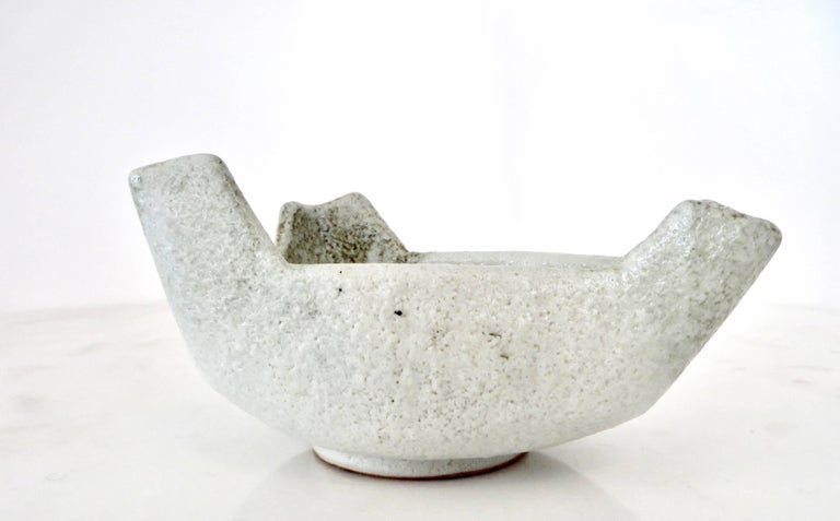 Mid-Century Modern Japanese Ikebana Ceramic Vase with an Abstract Highly Textured White Glaze For Sale