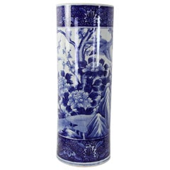 Japanese Imari Blue and White Porcelain Umbrella Stand