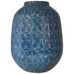 Japanese Imari Blue Green Ceramic Vase by Contemporary Master Artist