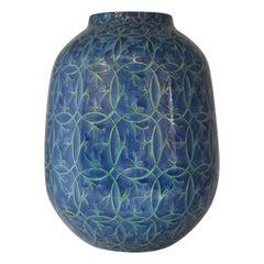 Japanese Imari Blue Green Porcelain Vase by Master Artist