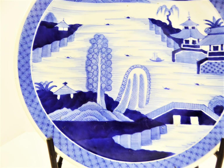 Hand-Painted Japanese Imari Charger Hand Painted Scenic Village by River Side, 1950s For Sale