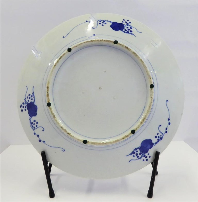 Porcelain Japanese Imari Charger Hand Painted Scenic Village by River Side, 1950s For Sale