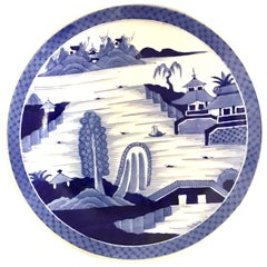 Japanese Imari Charger Hand Painted Scenic Village by River Side, 1950s