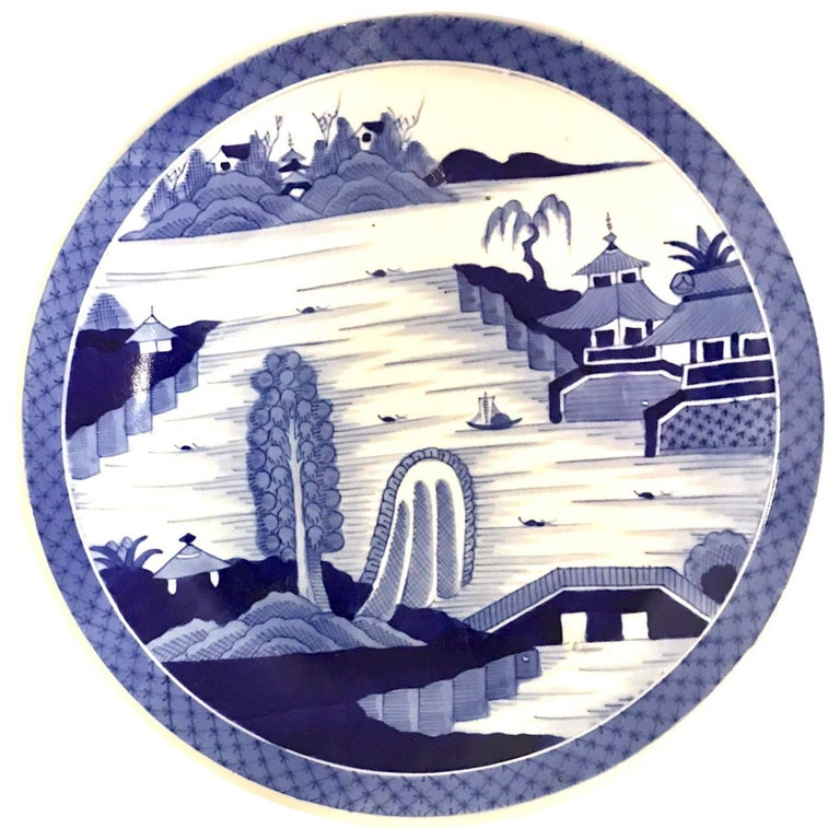 Japanese Imari Charger Hand Painted Scenic Village by River Side, 1950s For Sale